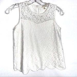 Girls Lace Top with Scalloped Hem